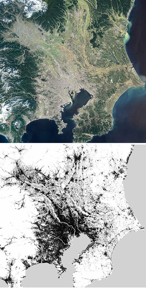 Tokio im optischen Satellitenbild… und als Siedlungsmuster des Global Urban Footprint