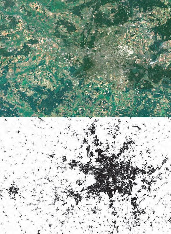 Berlin ist im normalen Satellitenbild kaum zu erkennen – erst der Global Urban Footprint macht die Stadtform sichtbar.