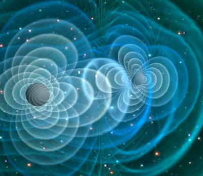 Visualisierung von Gravitationswellen beim Verschmelzen zweier Schwarzer Löcher.
