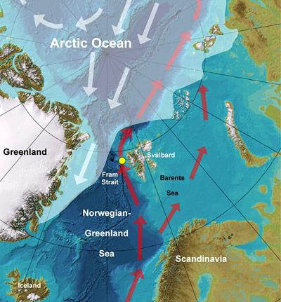 Karte der Grönlandsee und des Arktischen Ozeans.