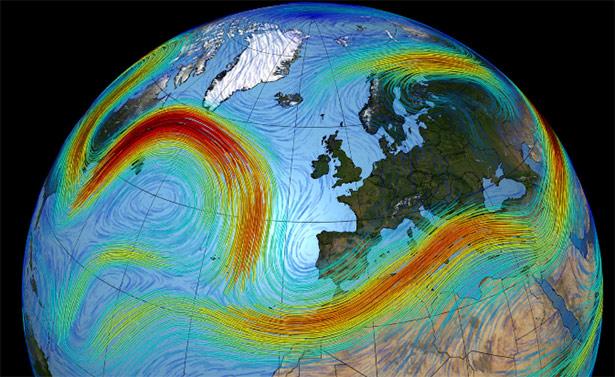 Hier bildet der Jetstream eine große Schleife nach Süden, die fast ganz Europa freilässt.