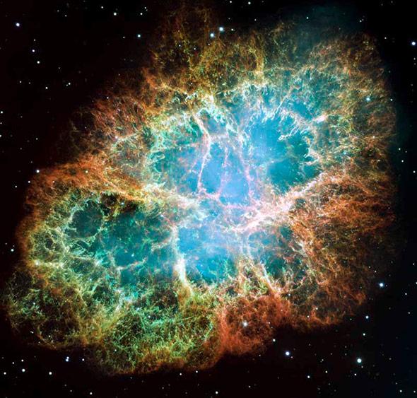 Der Krebsnebel ist der Überrest einer Supoernova, die sich im Jahr 1054 ereignete.