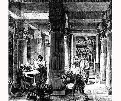 In der Bibliothek von Alexandria (neuzeitlicher Stich)