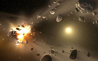 Trümmerbrocken und Kollisionen - der Asteroidengürtel ist kein sehr gemütlicher Ort.