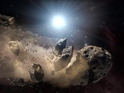 So könnte das Zerbrechen des großen Asteroiden Baptistina ausgesehen haben.