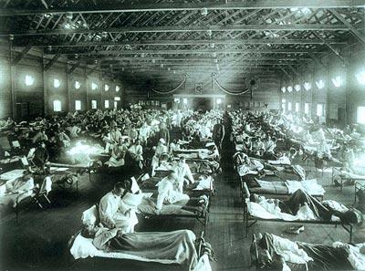 Hospital während der Grippewelle von 1918 in Kansas
