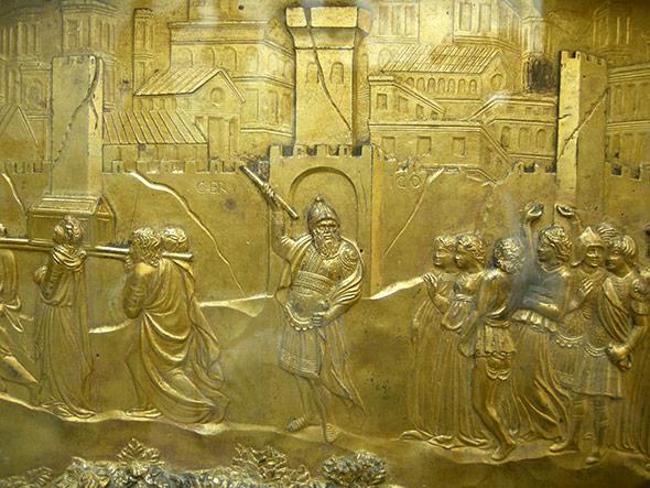 Die Mauern von Jericho tauchen bereits in der Bibel auf - hier ein Relief aus dem 14. Jh.