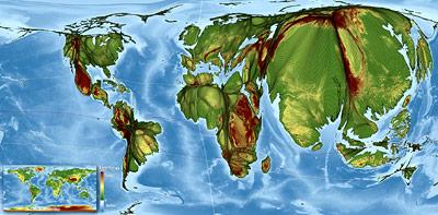 Weltbevölkerungskarte basierend auf der neuen Rastertransformation