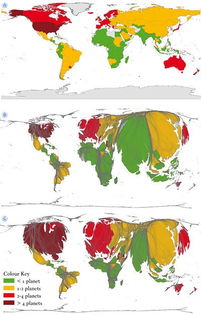 Karte des ökologischen Fußabdrucks in drei Varianten