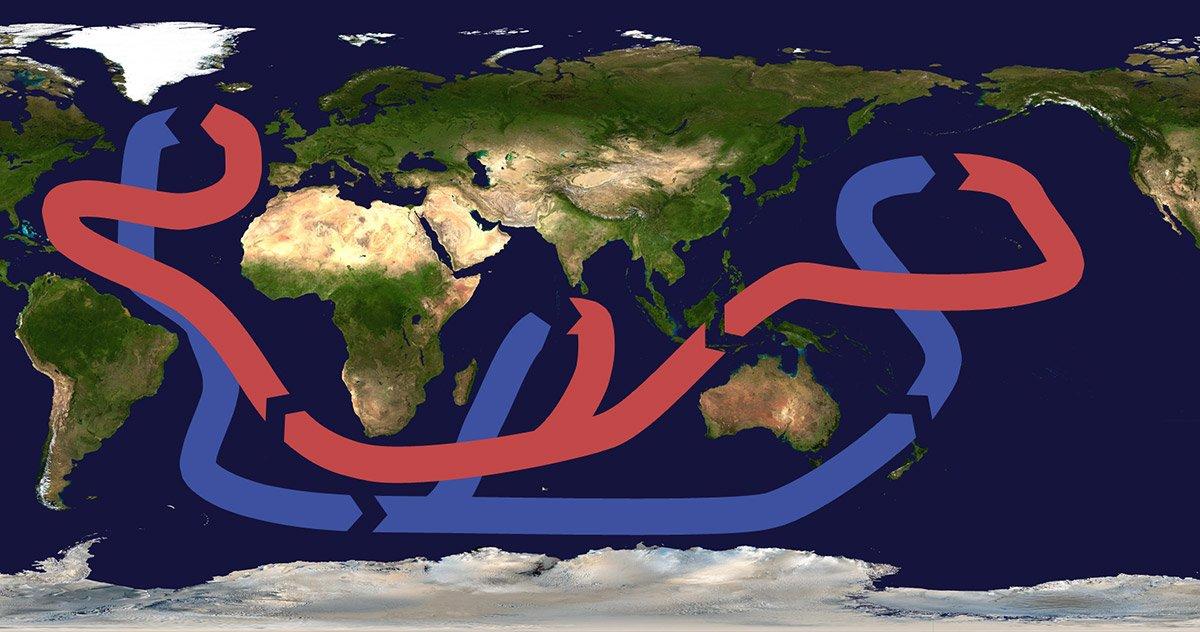 """<span class=""""img-caption""""> Stark vereinfachte Darstellung der globalen Ozeanzirkulation. Einer der """"Motoren"""" dieser Strömungen ist die Umwälzströmung im Nordatlantik AMOC). </span> <span class=""""img-copyright"""">© Brisbane/<a href=""""http://creativecommons.org/licenses/by/3.0"""" target=""""_blank"""" rel=""""noopener noreferrer"""">CC-by-sa 3.0</a></span>"""
