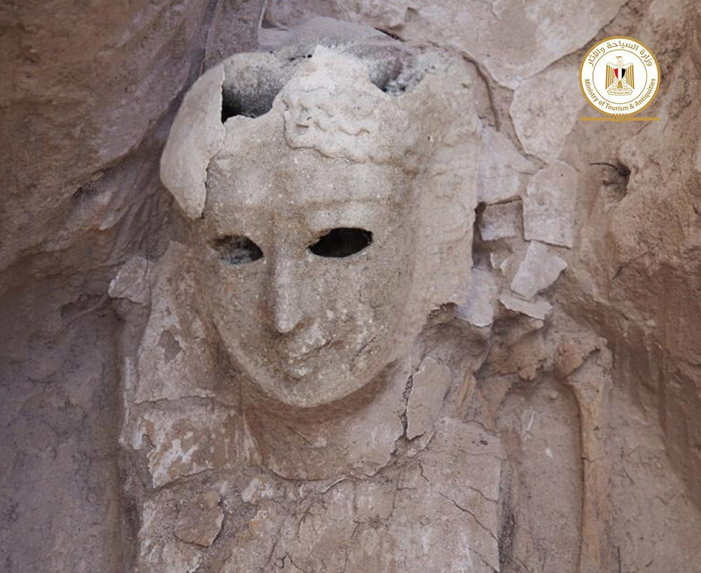 "Eine der in Taposiris Magna gefundenen Totenmasken. <span class=""img-copyright"">© Egyptian Ministry of Tourism and Antiquities</span>"