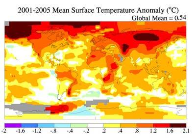 Klimaanomalien der mittleren Oberflächentemperatur 2100 bis 2005