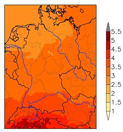 Änderung der Jahresdurchschnittstemperatur 2071-2100 gegenüber dem Vergleichzeitraum 1961-1990 für das A1b-Szenario