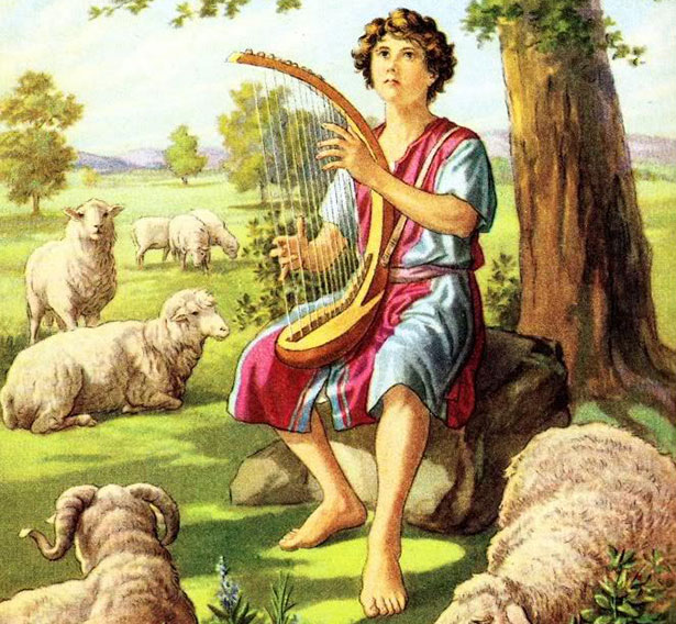 Darstellung des Hirtenjungen David in einer modernen Bibel-Illustration.