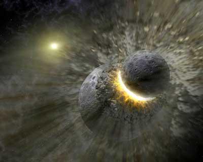 Kollision eines Asteroiden mit einem Kleinplaneten