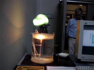 Ein Versuchsaufbau aus Elektroden und Wasserbecher erzeugt einen Plasmaball