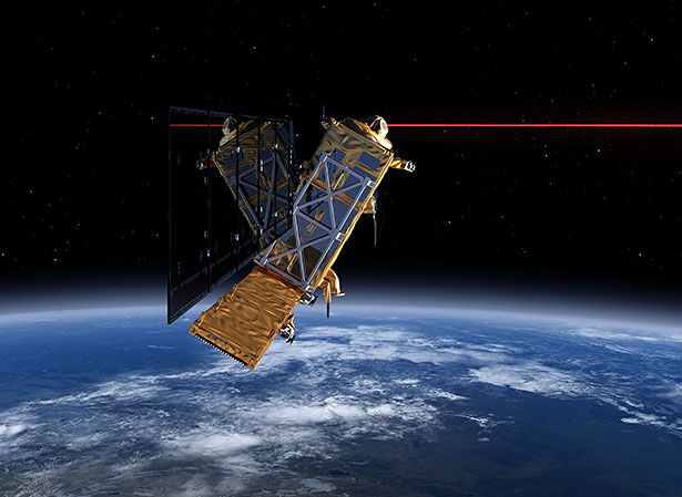 Satellit Sentinel 1 mit seinem Laser Communication Terminal (LCT) in Aktion.