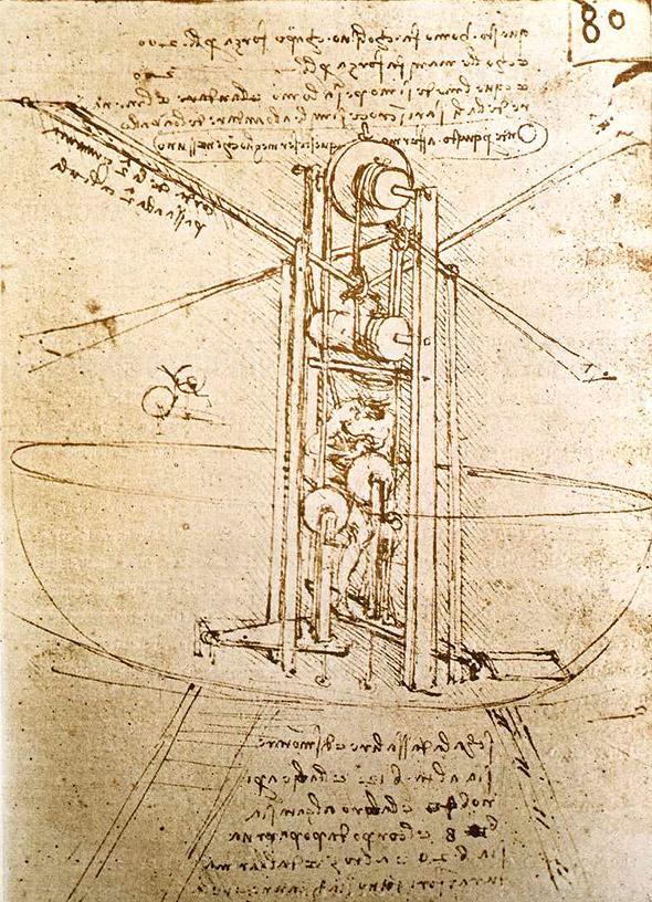 Skizze einer Flugmaschine