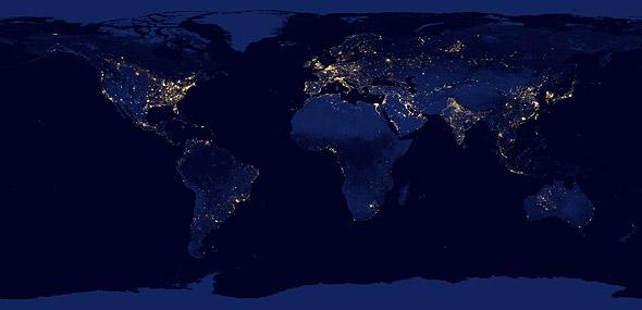 Nachtansicht der Erde, Satellitenbild von 2012