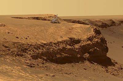 Mars-Rover am Rand des Victoria-Kraters