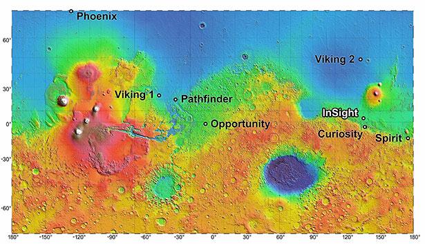 Das Landegebiet von Mars InSight in Elysium Planitia und die Standorte der anderen Marssonden.