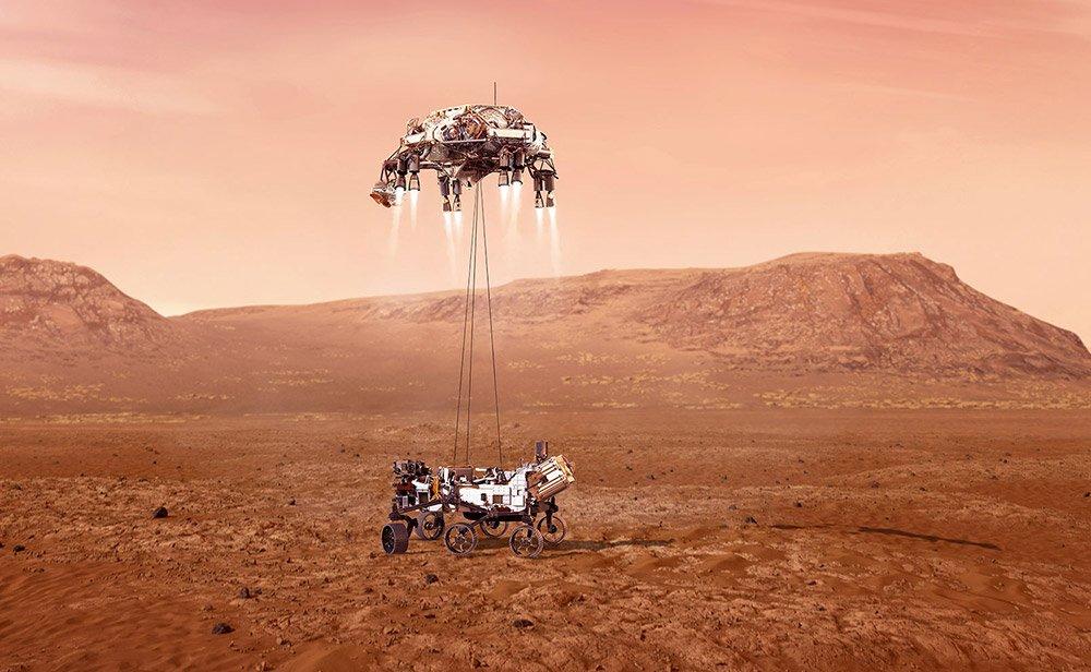 "Ein Himmelskran lässt den Rover vorsichtig zur Marsoberfläche hinab. <span class=""img-copyright"">© NASA/JPL-Caltech</span>"
