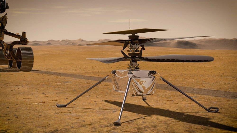 """Der Mars-Hubschrauber Ingenuity. <span class=""""img-copyright"""">© NASA/JPL-Caltech </span>"""