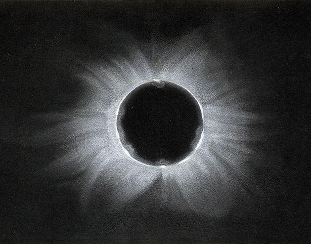 Aufnahme der Korona während einer totalen Sonnenfinsternis im Jahr 1871.