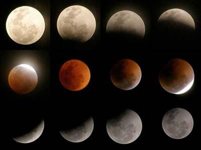 Kollage der Phasen während einer totalen Mondfinsternis