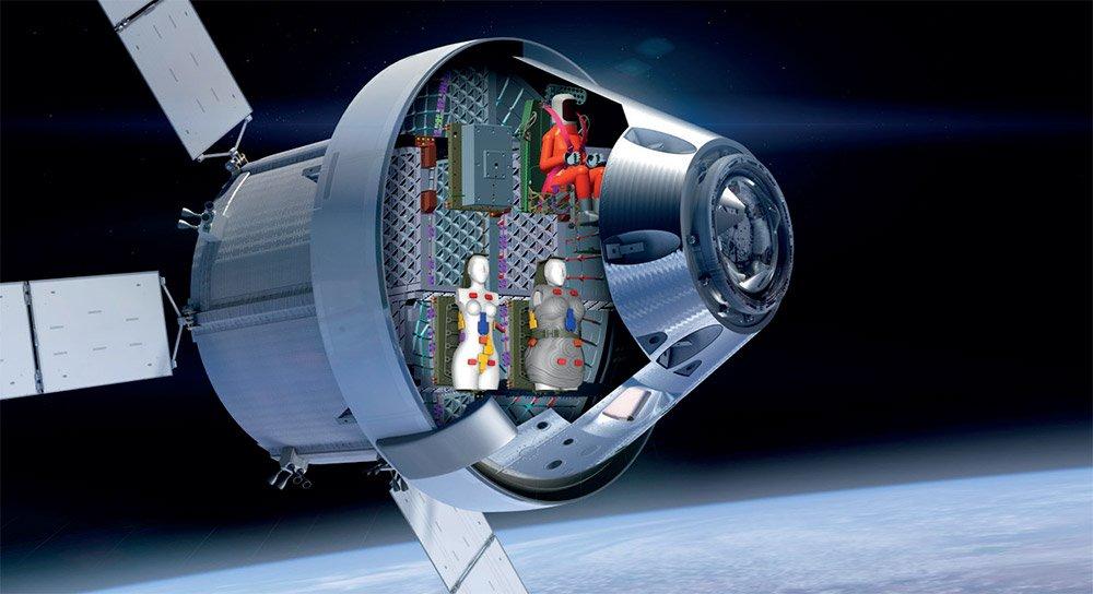 Bei der Mondmission Artemis-1 werden zwei Astronautinnen der ungewöhnlichen Art an Bord sein – zwei Mess-Dummys. © DLR