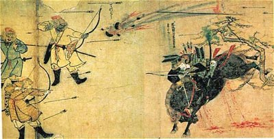 Angriff mongolischer Krieger gegen einen Samurai