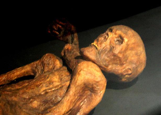 Ötzi wurde vom Eis konseviert als sogenannte feuchte Mumie konserviert