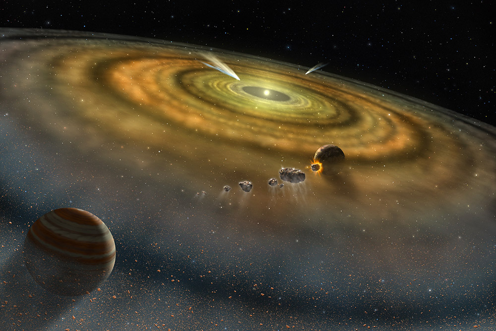 """Planeten und ihre Vorläufer wuchsen durch Kollisionen in der protoplanetaren Scheibe unserer Sonne heran. <span class=""""img-copyright"""">© NASA</span>"""