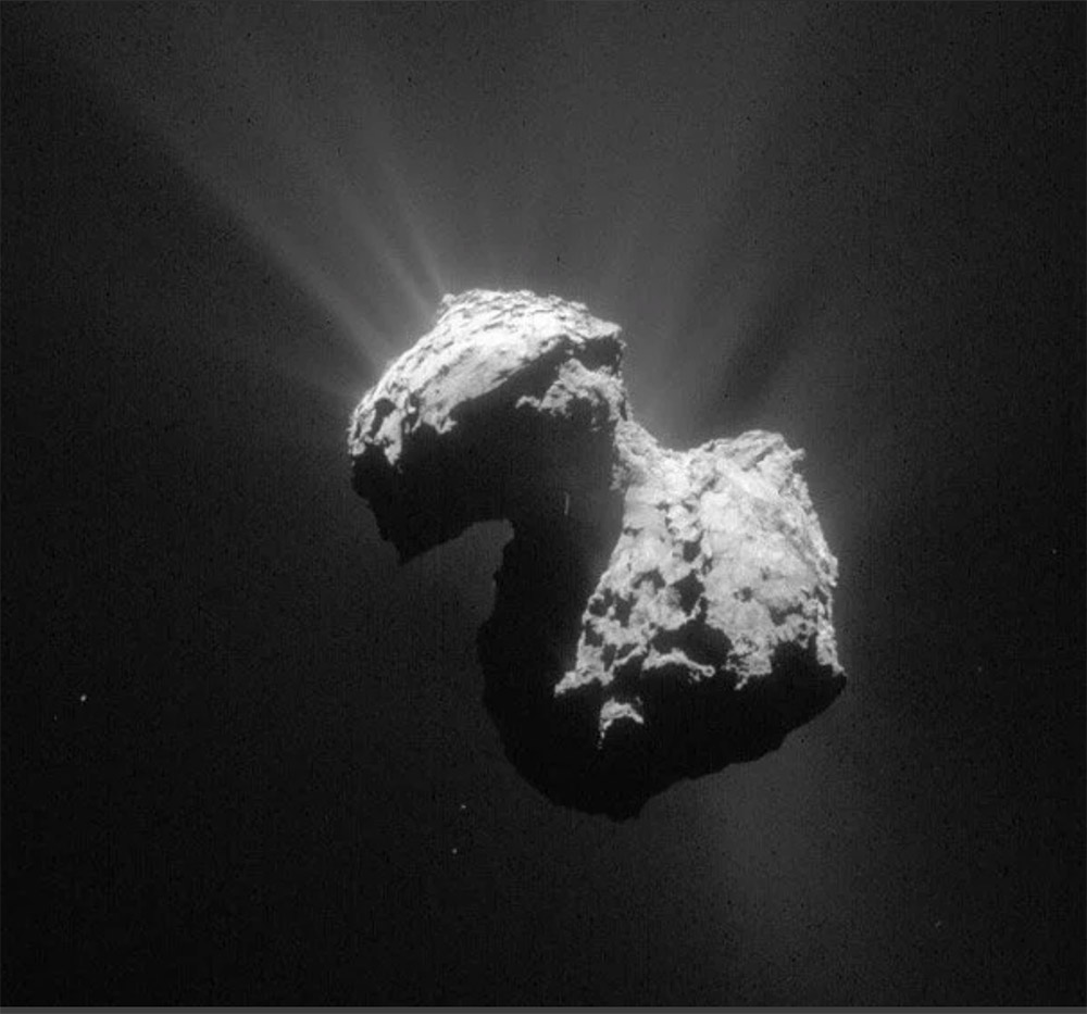 """Kometen wie hier 67P/Churyumov-Gerasimenko haben oft schon Kollisionen hinter sich. <span class=""""img-copyright"""">© ESA/Rosetta/NAVCAM</span>"""
