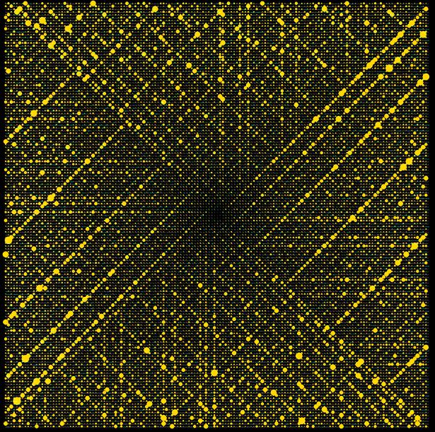 """Auffällige Linien: In der """"Rose von Ulam"""" erzeugen Primzahlen ein deutliches Muster"""