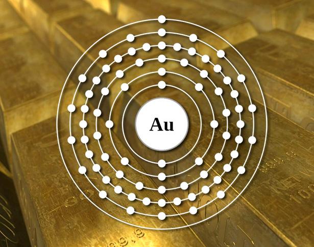 Die Kontraktion der Elektronenorbitale durch relativistische Effekte bindet das Außenelektron des Goldes besonders stark.