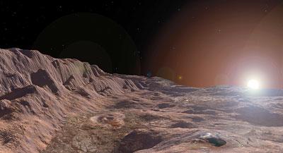 Die fehlende Atmosphäre lässt den Himmel von der Mekuroberfläche aus schwarz erscheinen (Illustration).