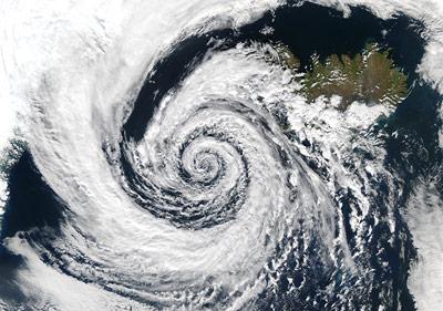 Kein Hurrikan, sondern ein Tiefdruckgebiet über Island