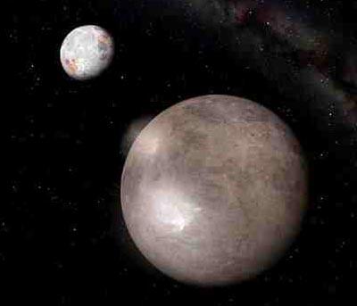 """""""Degradiert"""": Zwergplanet Pluto und sein Mond Charon"""