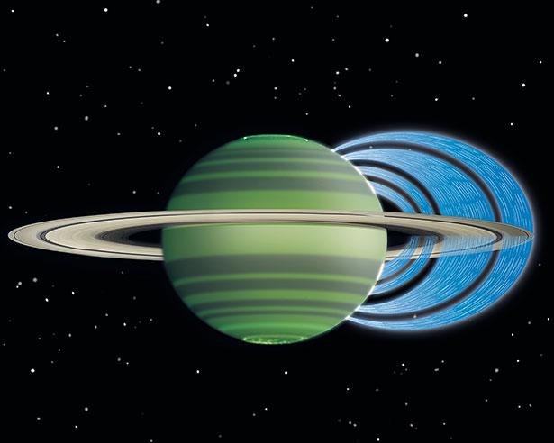 Geladene Wassermoleküle strömen in Bögen von den Ringen in die obere Atmosphäre des Saturn.