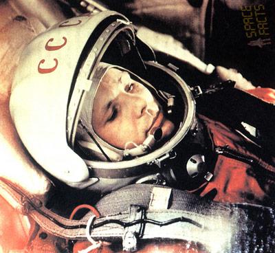 Juri Gagarin in der Wostok-1 Kapsel