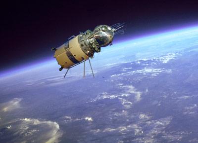 Wostok-1 im Orbit (Montage)