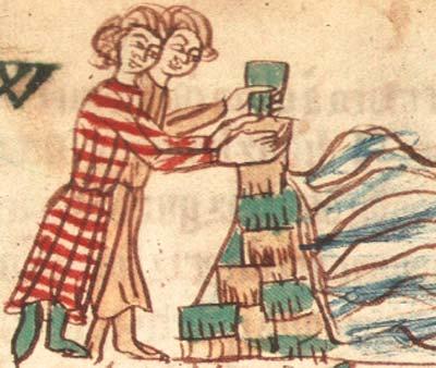 Deichbau-Darstellung im Sachsenspiegel aus dem 13. Jahrhundert