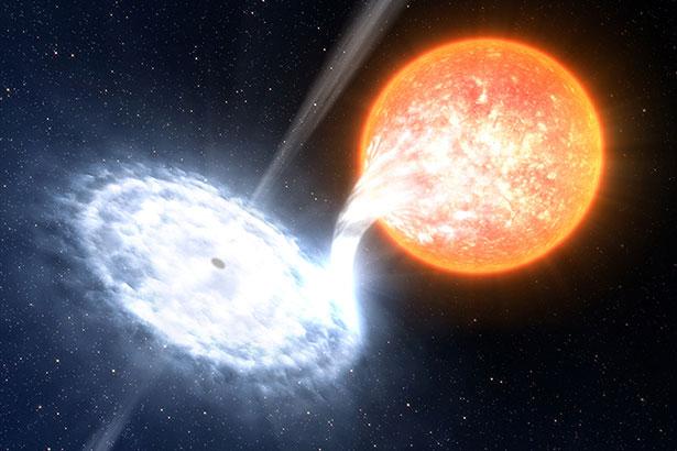 In V404 Cygni ausgt ein Schwarzes Loch seinem kleinen, sterbenden Begleitstern Materie ab.