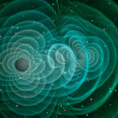 Computermodell von Gravitationswellen, wie sie Einstein postulierte