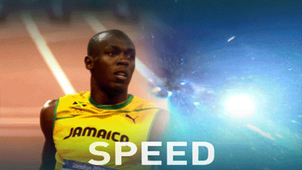 Rekordsprinter Usain Bolt erreicht eine Geschwindigkeit von 12,4 Meter pro Sekunde