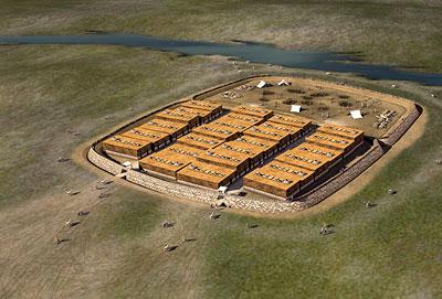 Rekonstruktion der bronzezeitlichen Siedlung von Ol'gino in der Eurasischen Steppe.