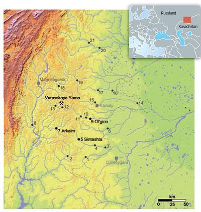 Die Karte zeigt das Arbeitsgebiet mit den befestigten Siedlungen der Bronzezeit.
