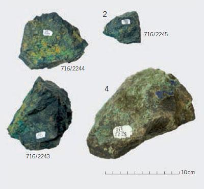 Auswahl an Kupfererzen, die in der Region gewonnen und verarbeitet wurden.