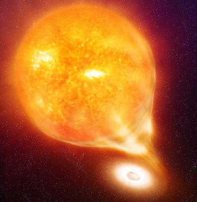 Weißer Zwerg saugt Materie von Rotem Riesenstern ab